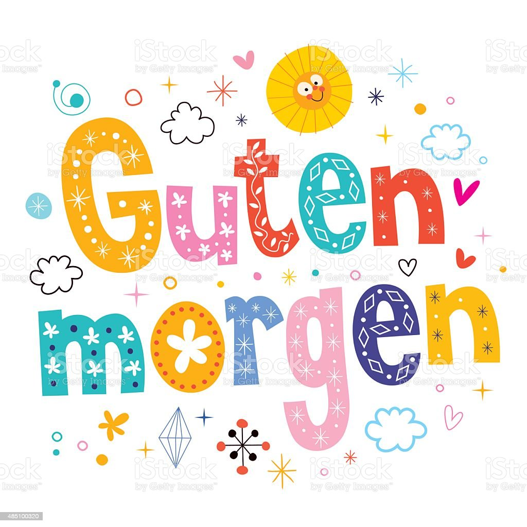 Guten Morgen Good Morning In German Stock Illustration