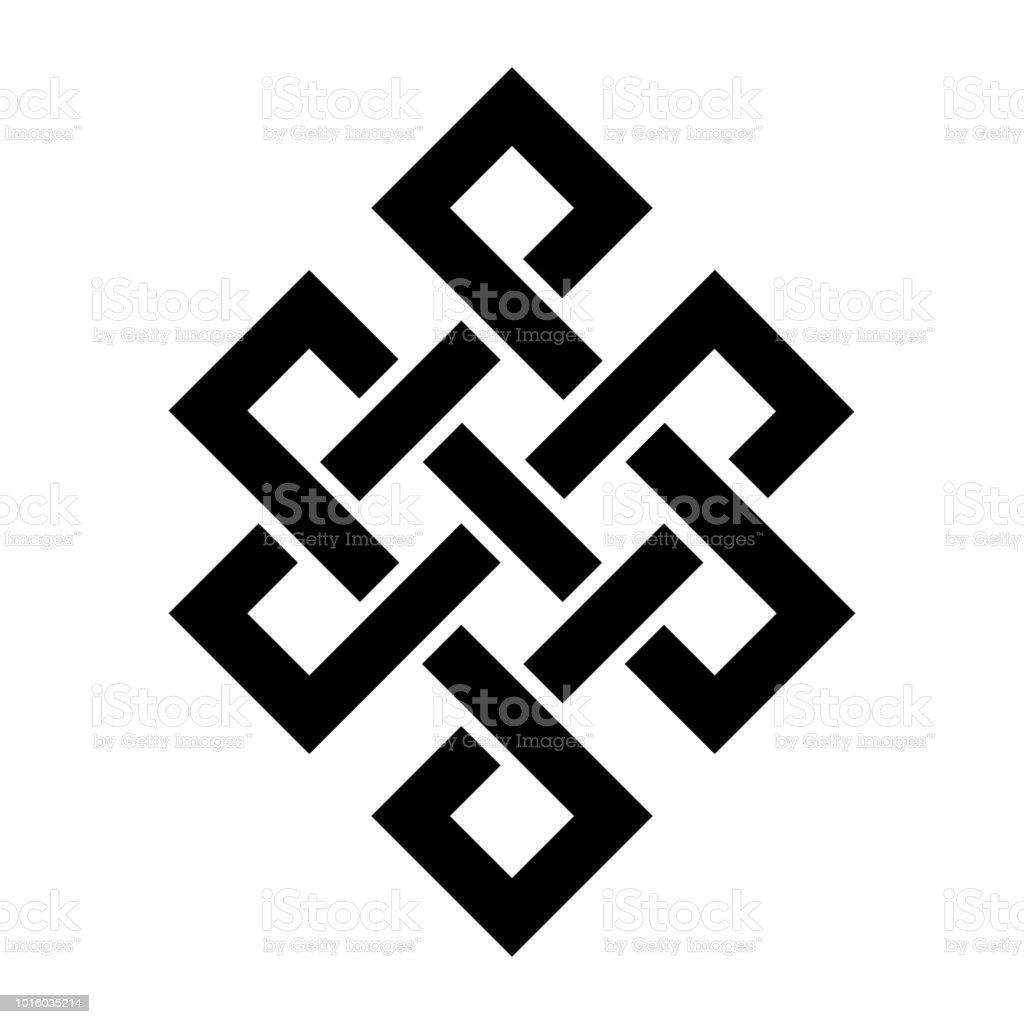«Coragem de Buda / as entranhas do Buda» (The Endless nó ou eterno nó, nó de felicidade) — símbolo de inseparabilidade e originação dependente da existência e todos os fenômenos no universo. - ilustração de arte em vetor
