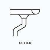 istock Gutter flat line icon. Vector outline illustration of pipe. Black thin linear pictogram for rain drainage 1304857406