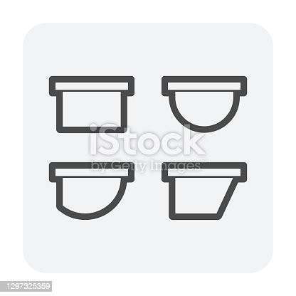 istock Gutter shape in profile view vector icon design. 1297325359