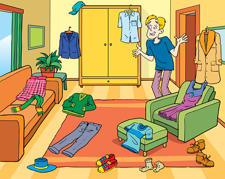 A guy, a bachelor or a student in a messy room
