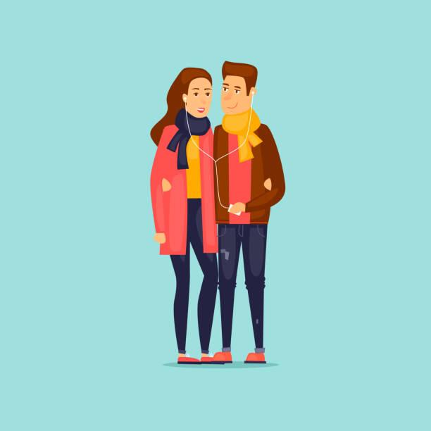 illustrazioni stock, clip art, cartoni animati e icone di tendenza di guy and girl listening to music on headphones. flat design vector illustration. - compagni scuola