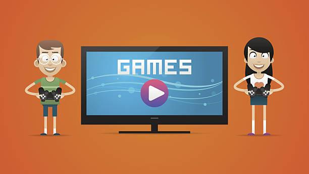 ilustrações de stock, clip art, desenhos animados e ícones de guy e menina jogar jogos de vídeo - tv e familia e ecrã