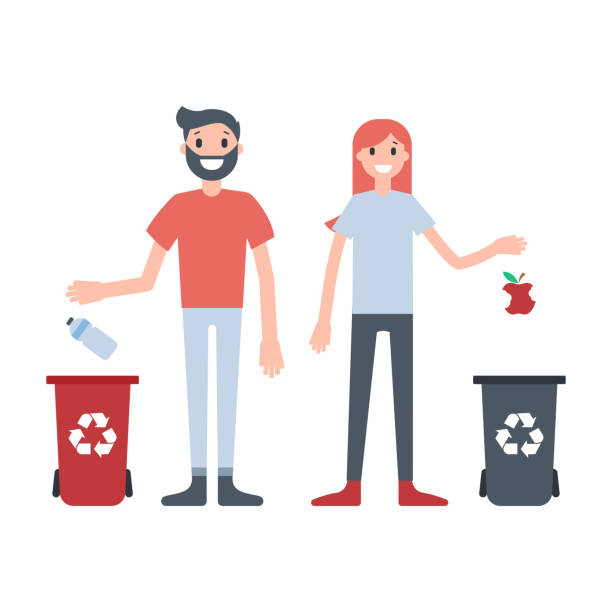 guy and girl throwing waste to different bins - child throwing garbage stock illustrations, clip art, cartoons, & icons