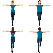 Guy and girl tightrope walker front and back view, man and woman keep balance, acrobats vector illustration on a white background