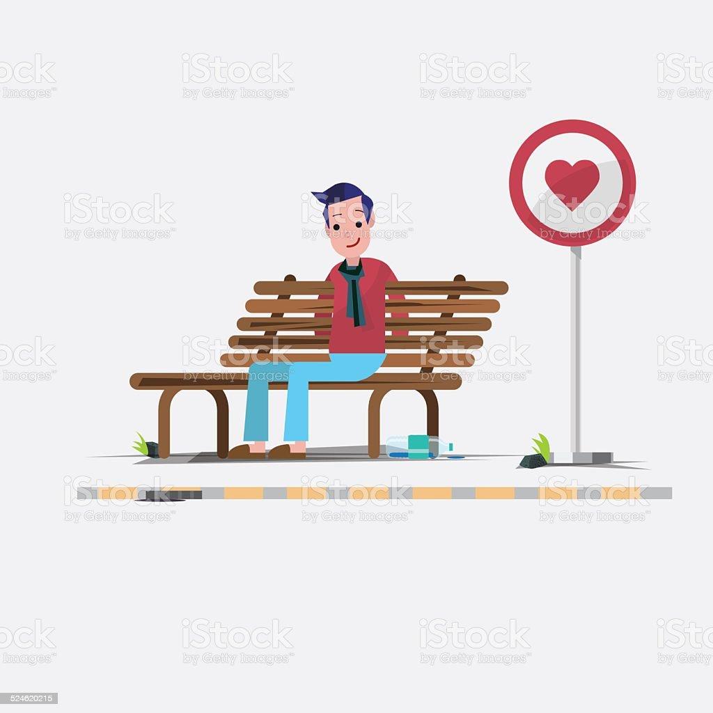 Guy are waiting for love - vector illustration vector art illustration