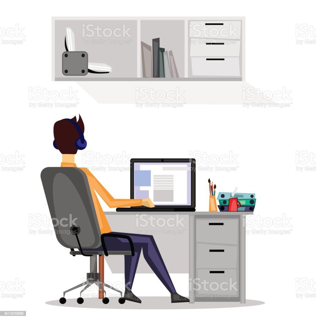 Guy at work vector art illustration