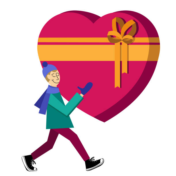 guy buying heart-shaped gift box - leap year stock illustrations, clip art, cartoons, & icons