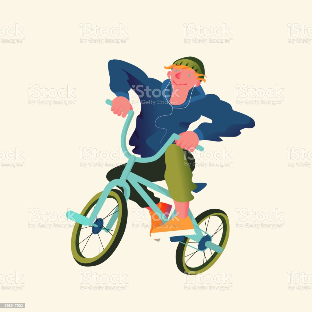 Guy by bicycle bmx extreme sport. Freestyle BMX riders in flat style....