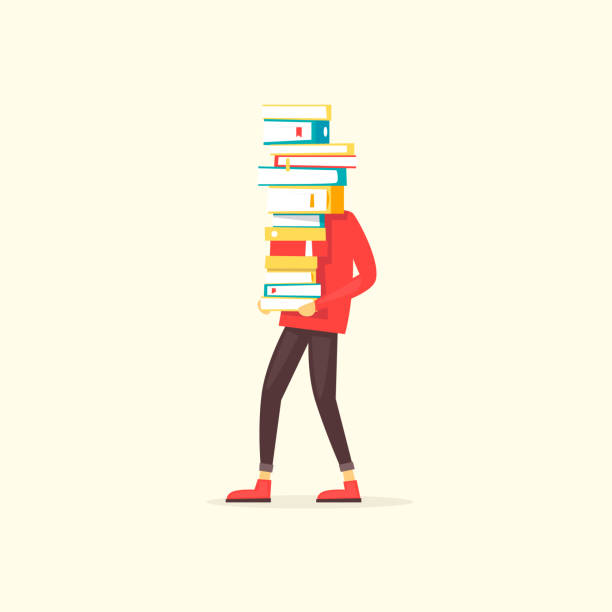 illustrazioni stock, clip art, cartoni animati e icone di tendenza di guy carries a pile of books. flat design vector illustration. - portare