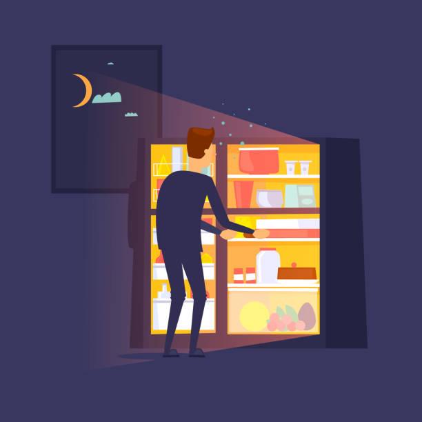 Kerl stieg in der Nacht in den Kühlschrank. Flaches Design-Vektor-Illustration. – Vektorgrafik