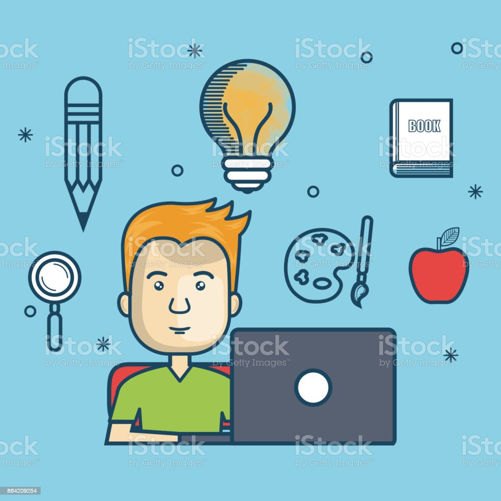 guy education online with laptop design royalty-free guy education online with laptop design stock vector art & more images of adult