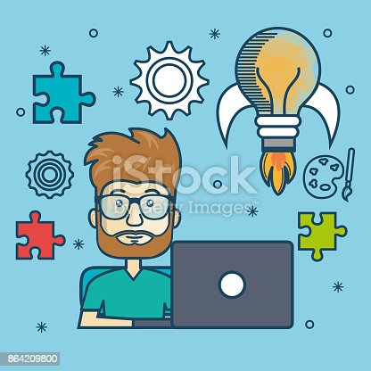 Guy Education Online With Laptop Design Stock Vector Art & More Images of Adult 864209800