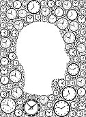 istock Guy Face on Time and Clock Vector Icon Pattern 628026940