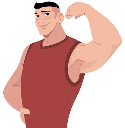 Guy Flexing An Arm