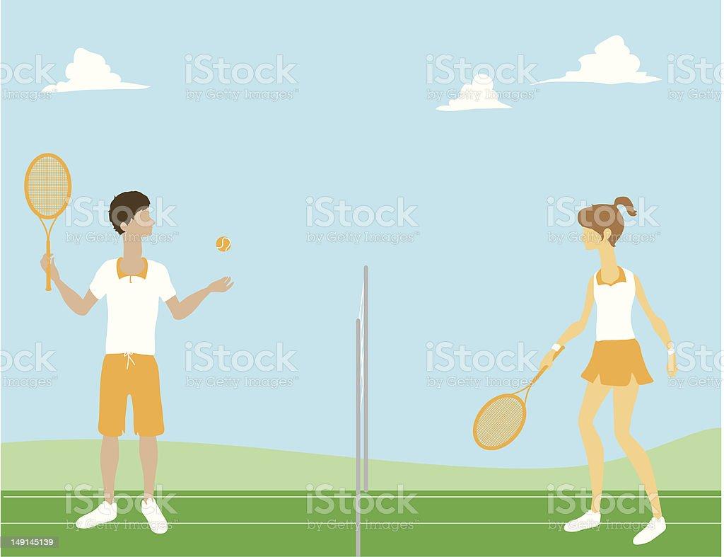 Guy & Girl Playing Tennis royalty-free stock vector art