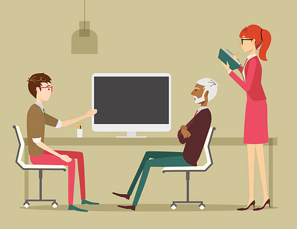 guy giving a presentation in a creative office - business casual fashion stock illustrations