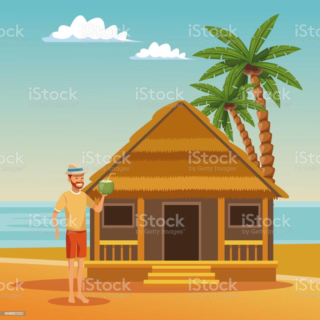 Chico divirtiéndose en dibujos animados de verano playa - arte vectorial de Adulto libre de derechos