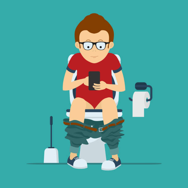 stockillustraties, clipart, cartoons en iconen met guy hipster sits on  toilet bowl with phone in hands - cell phone toilet