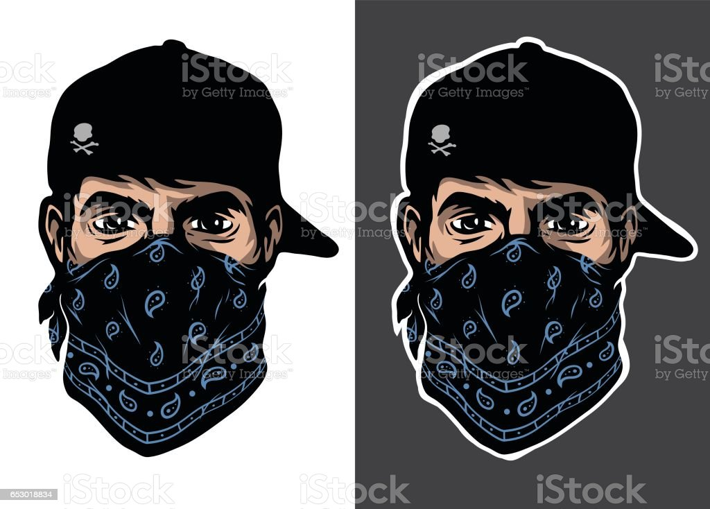 A guy in a baseball cap and bandana, two options. vector art illustration
