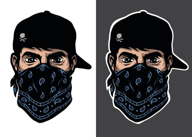 a guy in a baseball cap and bandana, two options. - gangster stock illustrations, clip art, cartoons, & icons
