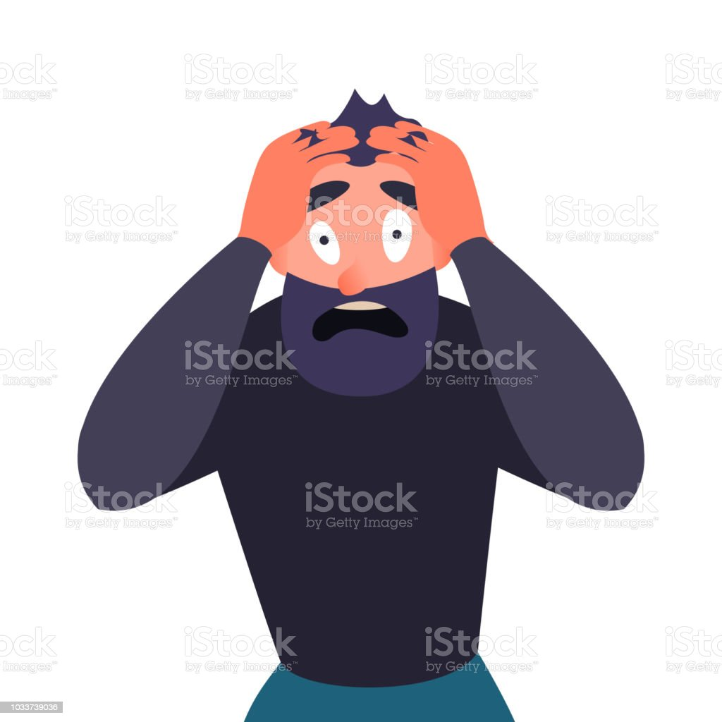 Guy In Panic Attack Terrified Cartoon Character Screams In Horror And Clings To His Head Man With A Migraine Headache Mental Health Problems Stock Illustration Download Image Now Istock