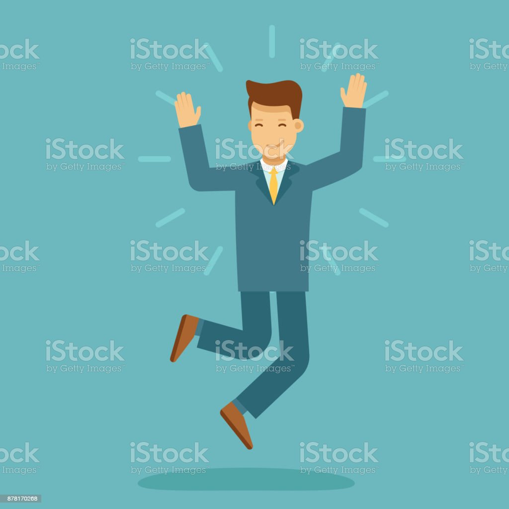 Guy jumping with happy expression vector art illustration