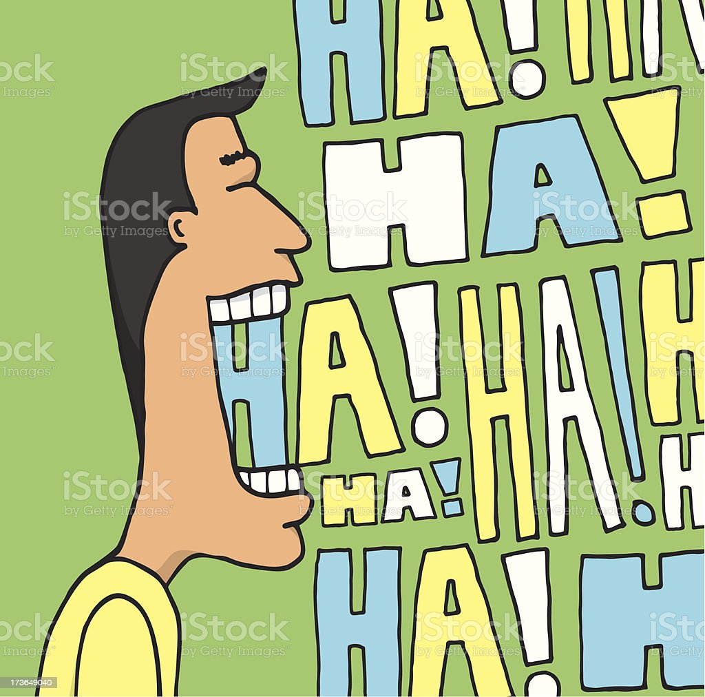 Guy laughing out loud vector art illustration