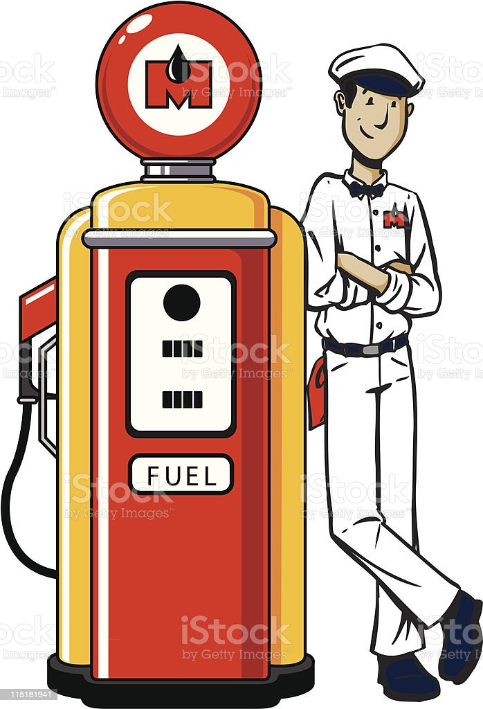 Guy Leaning On Gas Pump royalty-free stock vector art