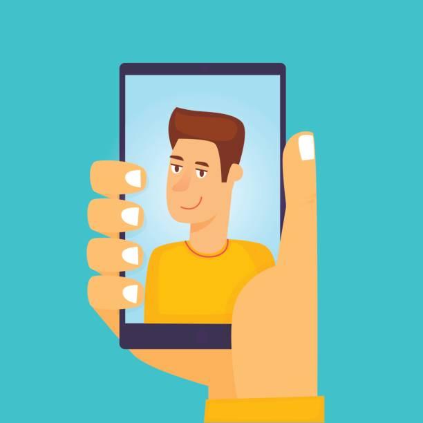 Kerl macht Selfie. Flaches Design-Vektor-Illustration. – Vektorgrafik