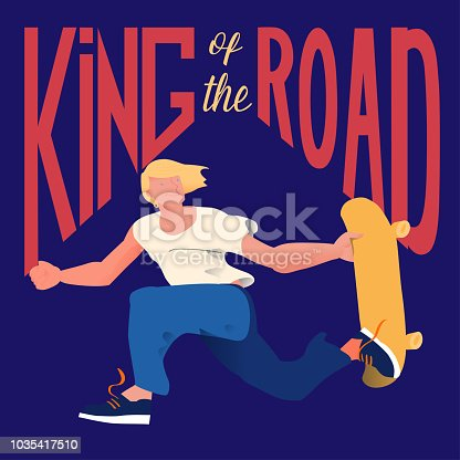 istock Guy on skateboard. The skateboarder does a trick in a jump. Poster for goods of skateboarders. Cool dude man with text 'King of the road'. Vector illustration. 1035417510