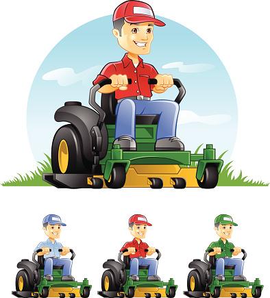 Guy Riding Lawn Mower