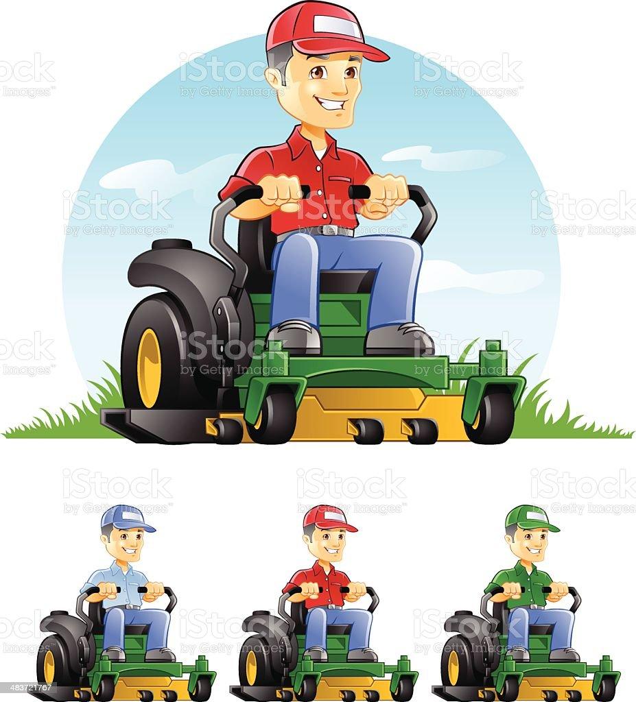 Guy Riding Lawn Mower vector art illustration