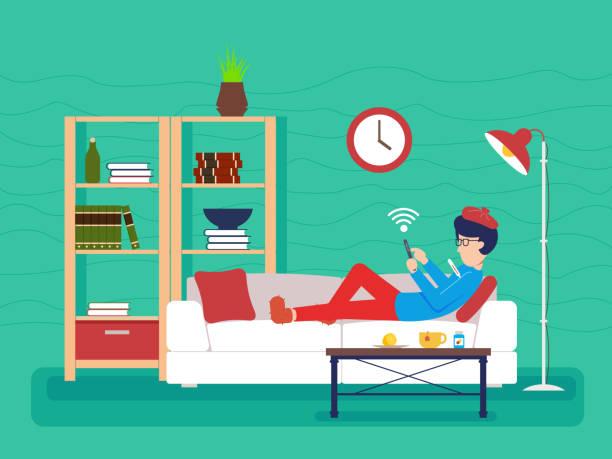 ソファの上の男病気嘘 - スマホ ベッド点のイラスト素材/クリップアート素材/マンガ素材/アイコン素材
