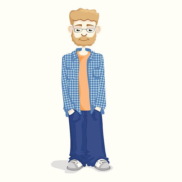 guy standing in plaid shirt - plaid shirt stock illustrations