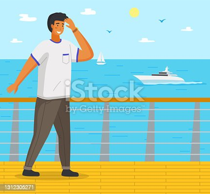 Guy stands on pier, covering eyes with hand. Sea, boats, boats, sailboat on horizon. Summer vacation