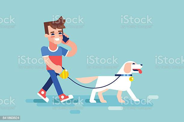 Guy walks his dog and talking on phone vector vector id541863524?b=1&k=6&m=541863524&s=612x612&h=w 8ji3ymql b wfou thltg dotirs6m79hdyddihxm=