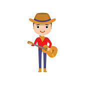 Guy wearing cowboy clothes playing guitar and singing. Country music player isolated on white background. Activities and hobbies concept.