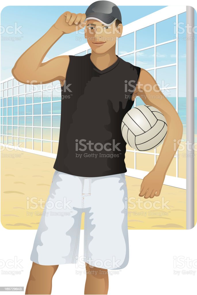 guy with ball vector art illustration