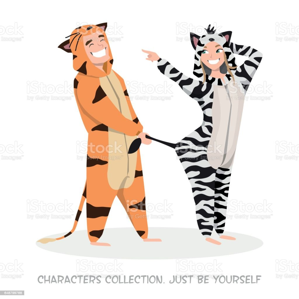 Guy with girl at home pajamas fun. vector art illustration