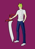 The guy with the big sword in the anime style