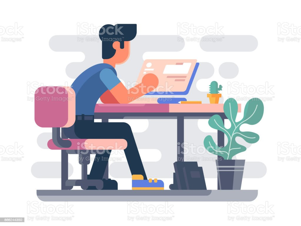 Guy working at computer vector art illustration