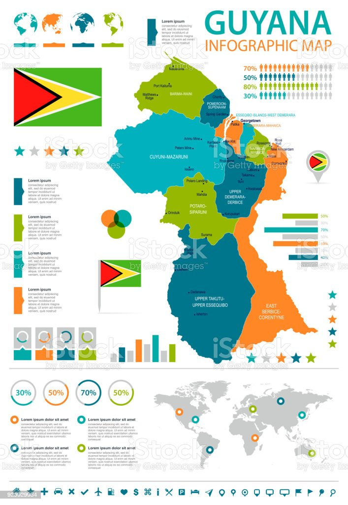 Guyana Infographic Map And Flag Detailed Vector Illustration Stock