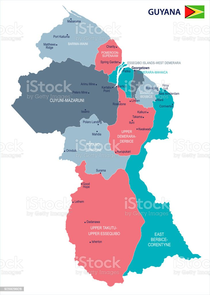 Guyana Map And Flag Detailed Vector Illustration Stock Vector Art