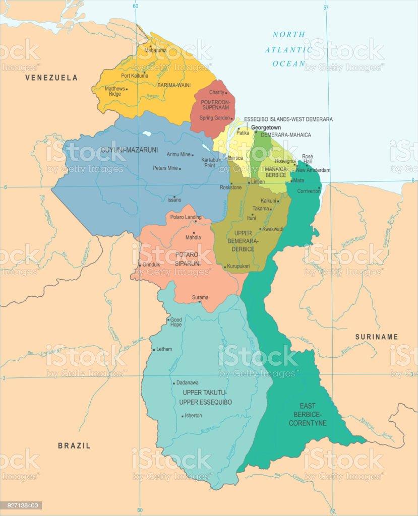 Guyana Map Detailed Vector Illustration Stock Vector Art More