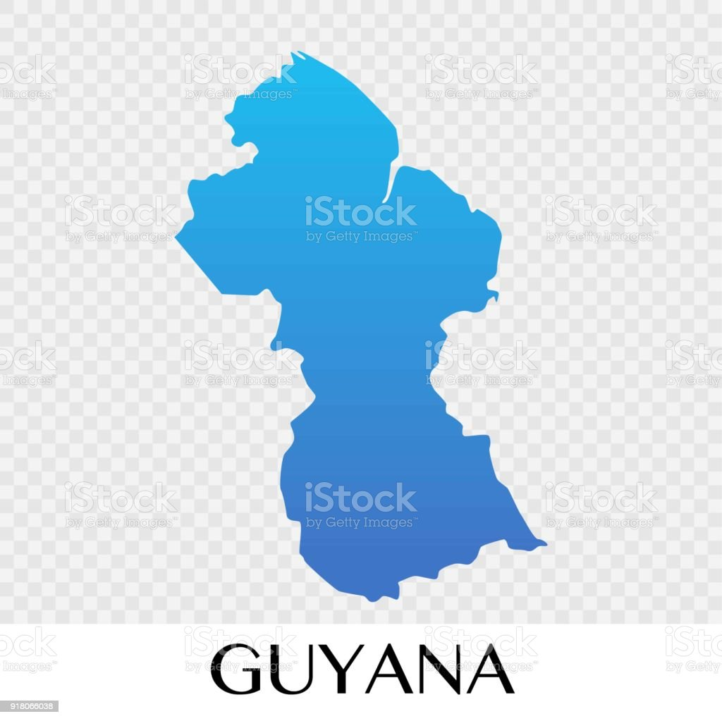Guyana Map In South America Continent Illustration Design Stock ...