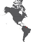 Guyana red map on gray America map vector