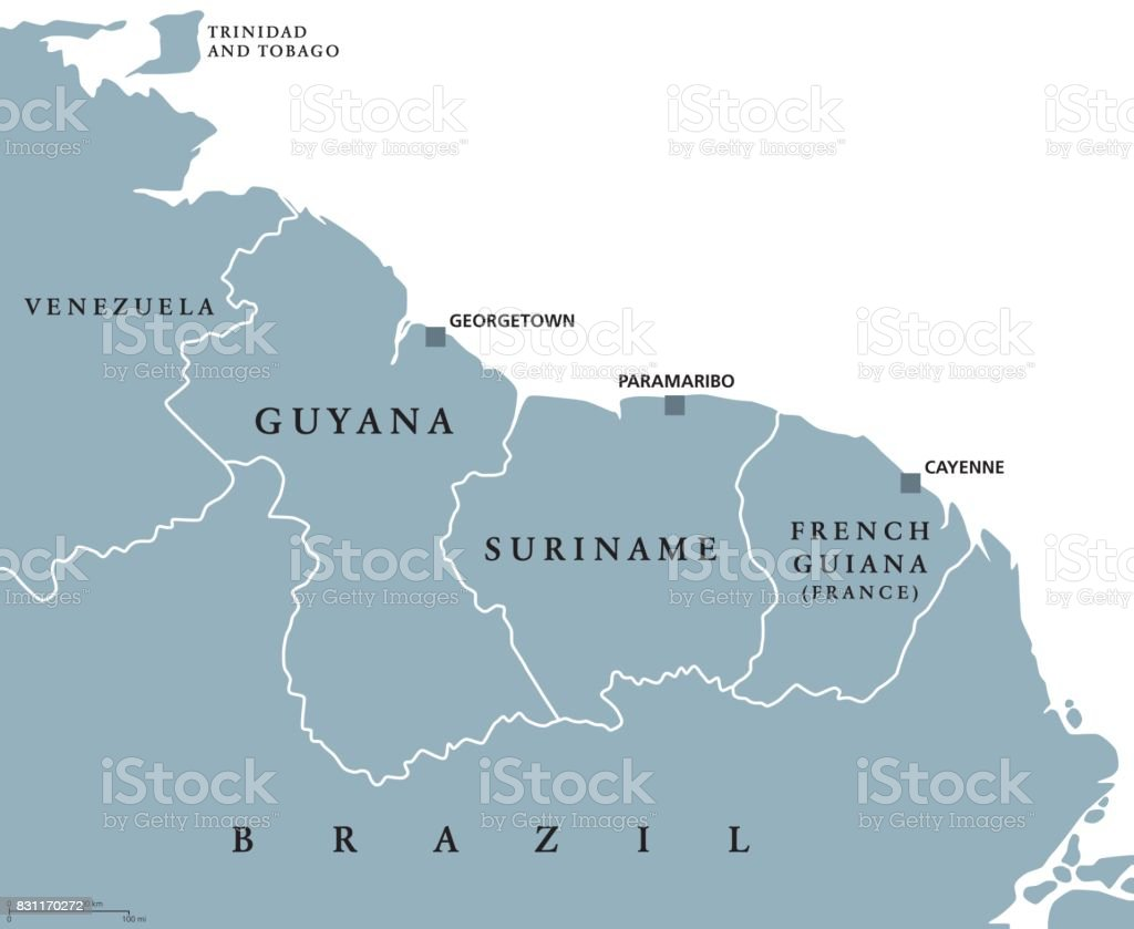 Guyana Suriname Und Franzosischguayana Politische Karte Stock Vektor Art Und Mehr Bilder Von Amerikanische Kontinente Und Regionen Istock