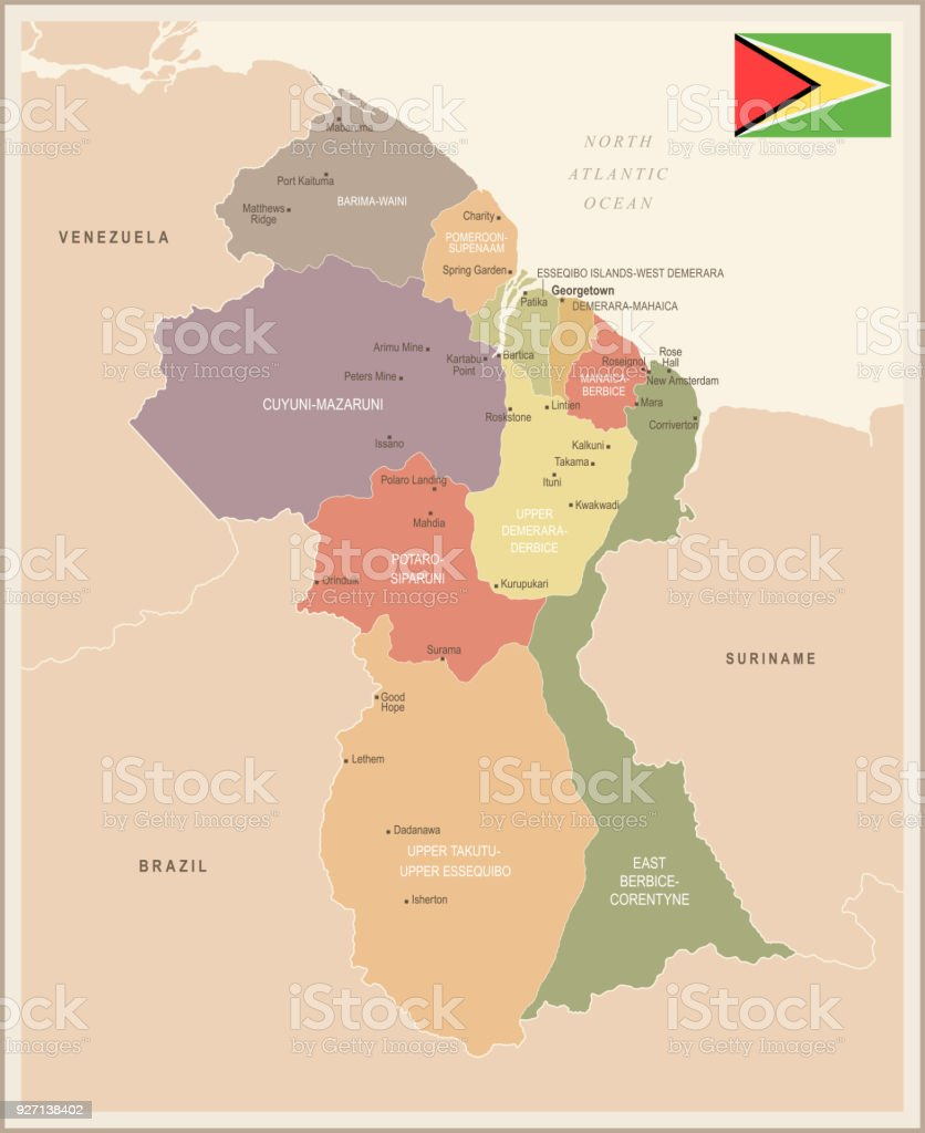Guyana Vintage Map And Flag Detailed Vector Illustration Stock ...