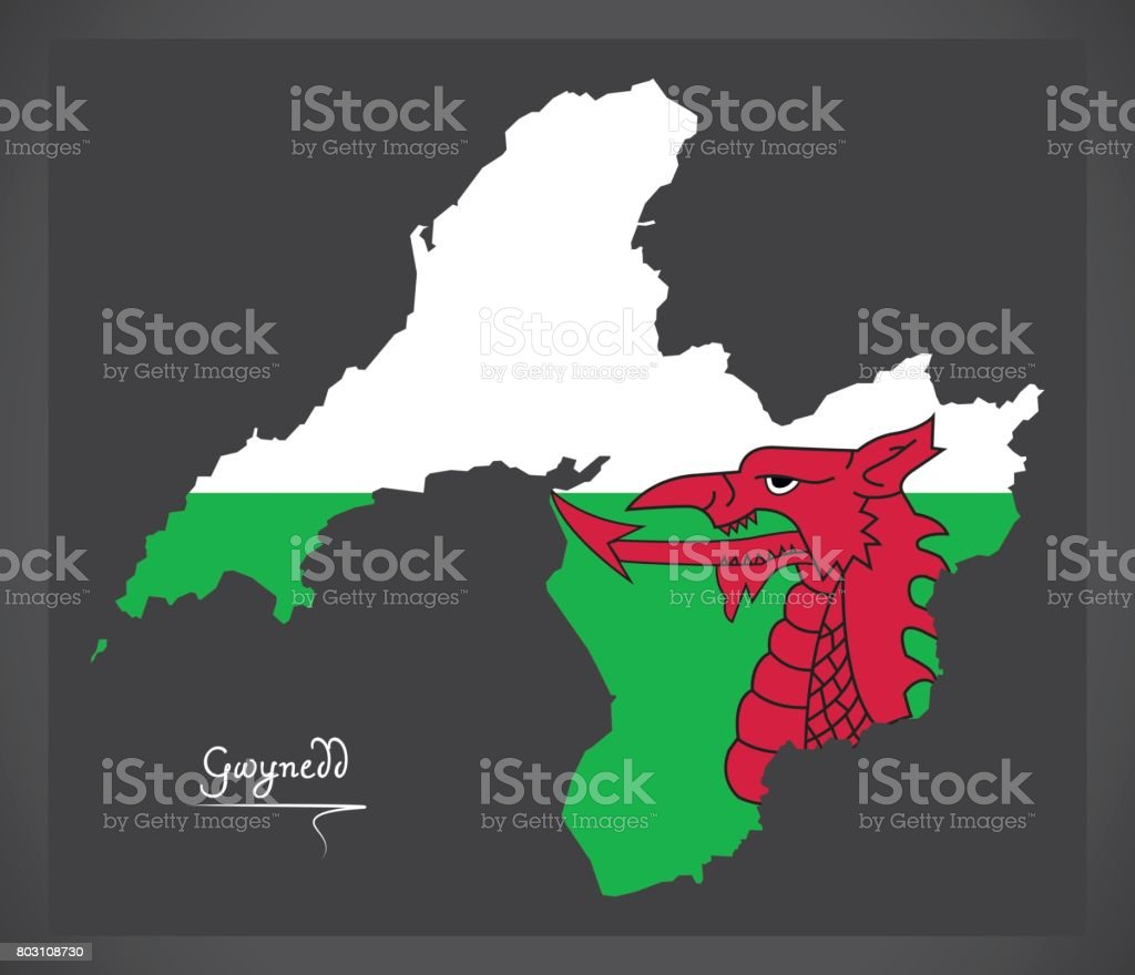 Gwynedd Wales map with Welsh national flag illustration vector art illustration